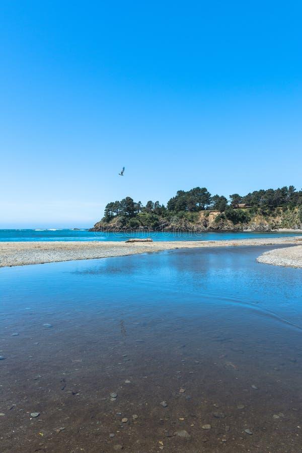 海湾在Mendocino,加利福尼亚 免版税库存照片