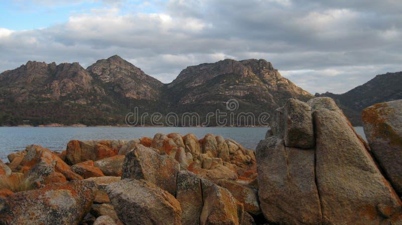 海湾塔斯马尼亚岛葡萄酒杯 库存照片