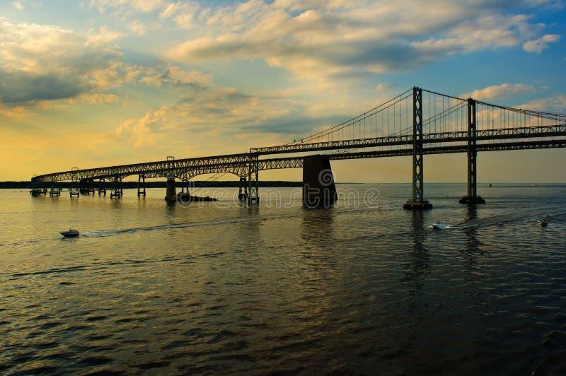 海湾小船桥切塞皮克犬通过 库存照片