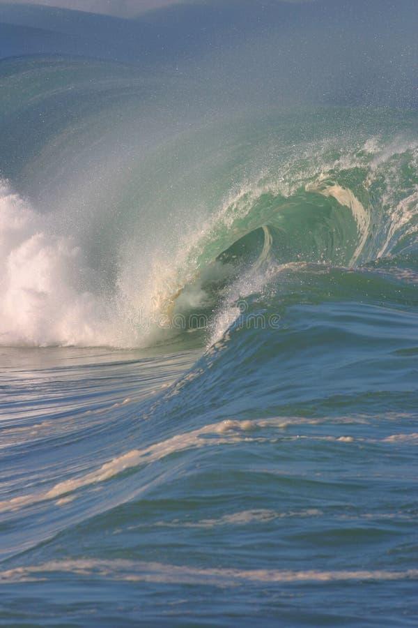 海湾强大的waimea通知 免版税库存照片