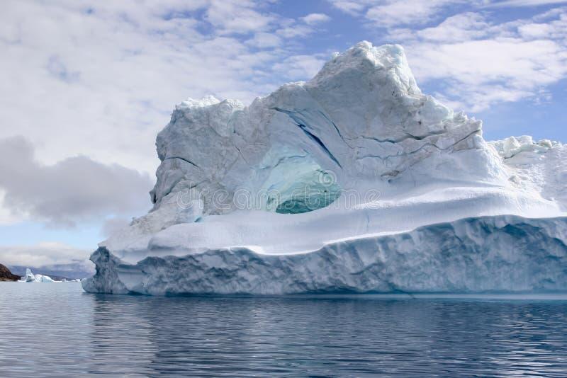 海湾格陵兰冰山uummannaq 免版税库存照片