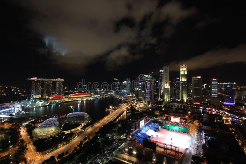 海湾海滨广场晚上地平线 免版税库存图片