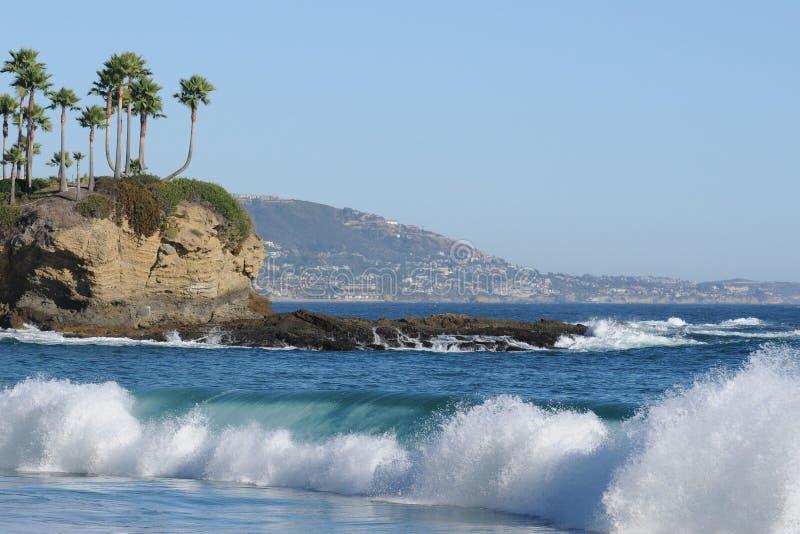 海湾海滩加州月牙拉古纳 图库摄影