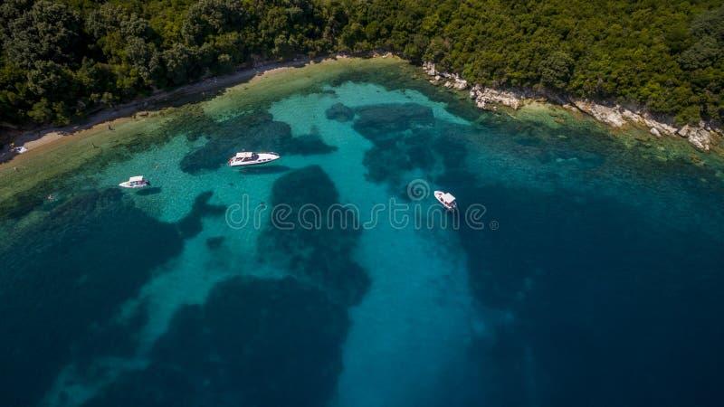 海湾的空中寄生虫英尺长度和小船在北部科孚岛希腊 免版税库存图片