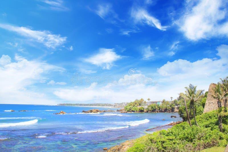 海湾的美丽的景色在堡垒附近加勒,斯里兰卡墙壁的  免版税库存图片