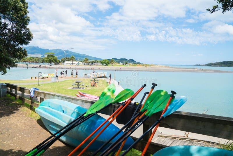 海湾看法从在遮荫pohutukawa树之间的沿港口edg 免版税库存图片