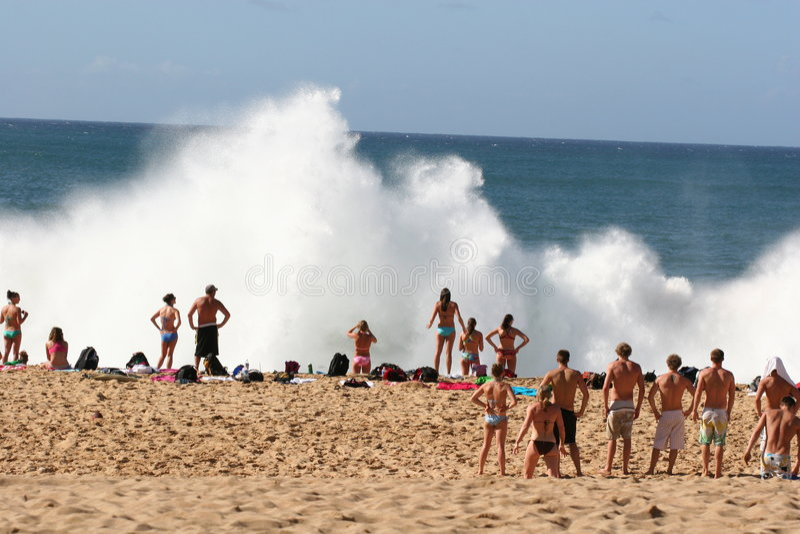 海湾explosion2 waimea 图库摄影