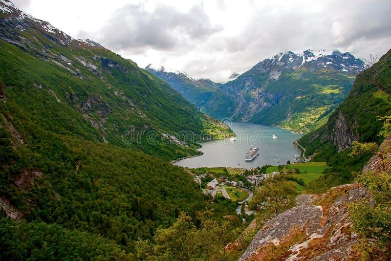 海湾geiranger挪威 免版税图库摄影