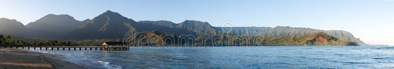 海湾hanalei考艾岛全景日出 免版税图库摄影