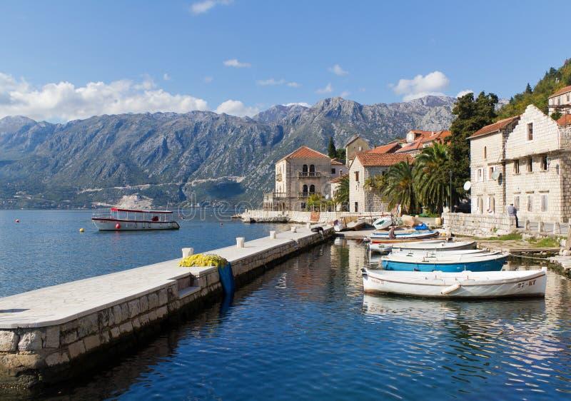 海湾kotor montenegro perast 图库摄影