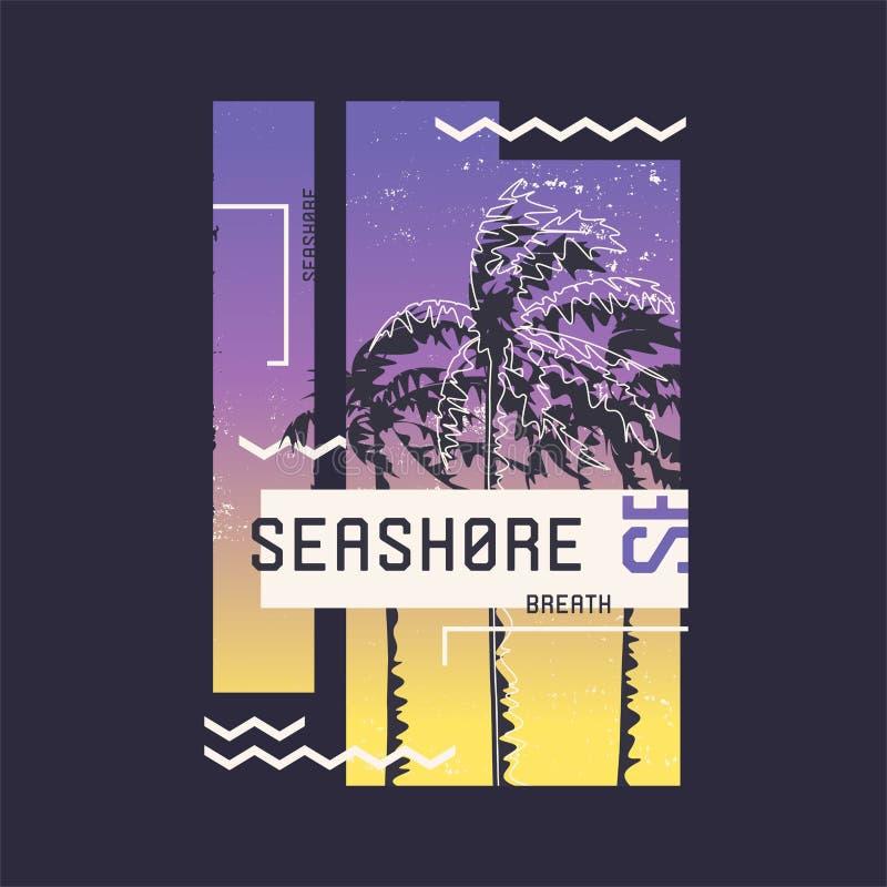 海滨呼吸 在夏天,假日,海滩,海岸,热带题目的图表T恤杉设计  库存例证