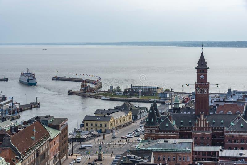 海滨城镇赫尔辛堡在瑞典 图库摄影