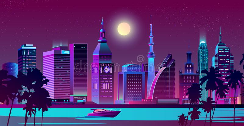 海滨夜风景传染媒介的现代城市 向量例证