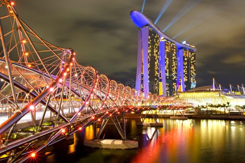 海滨广场海湾沙子在新加坡。 库存图片