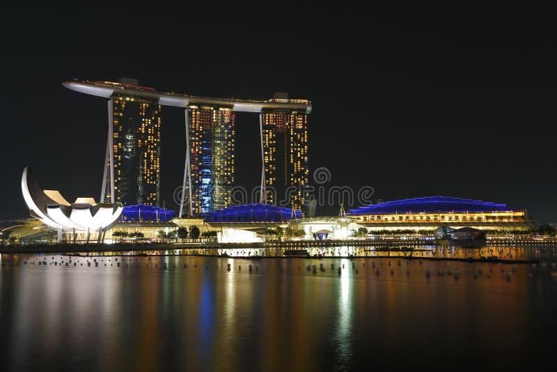 海滨广场海湾铺沙新加坡晚上1 免版税图库摄影