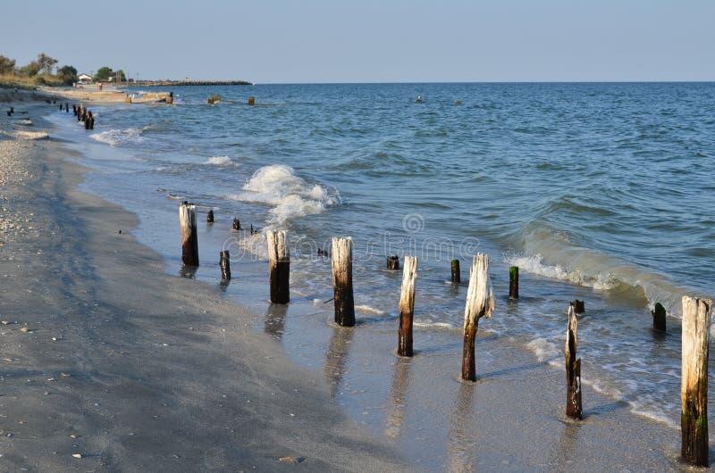 海滨,损坏的木柱子,波浪 免版税库存照片