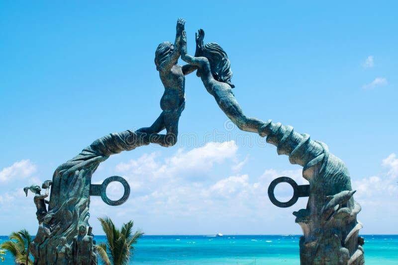 海滨del卡门门玛雅人雕塑在墨西哥 图库摄影