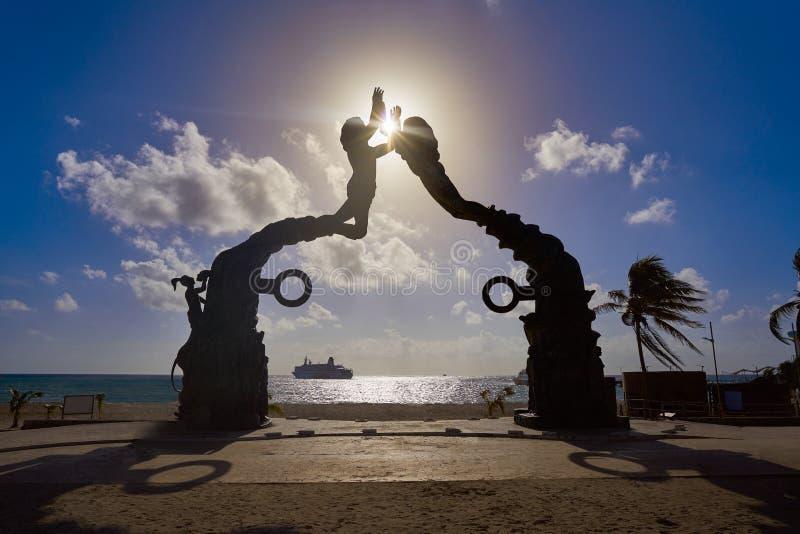 海滨del卡门门玛雅人雕塑 图库摄影