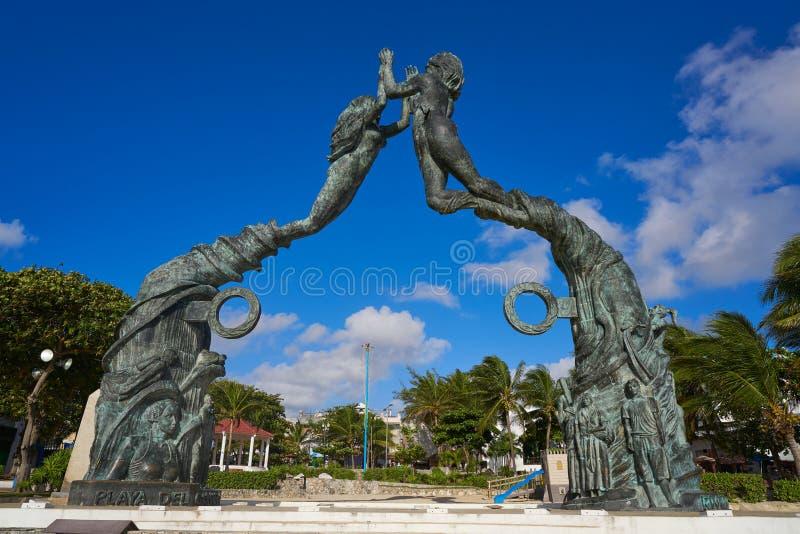 海滨del卡门门玛雅人雕塑 库存照片