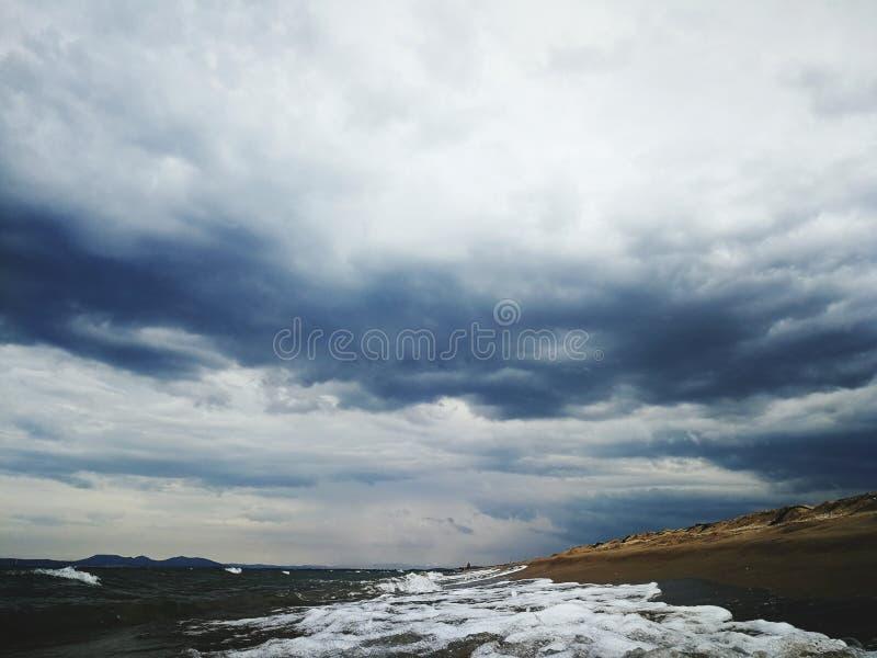 海滩云彩 库存照片