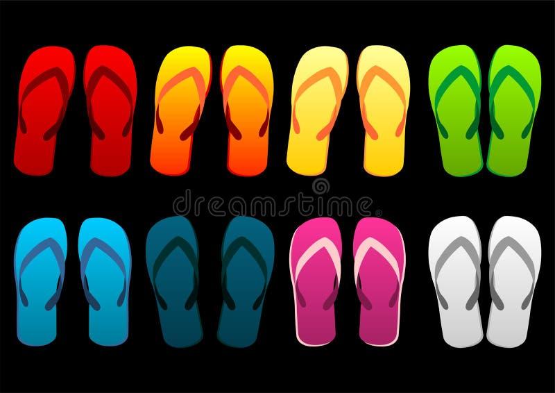 海滩五颜六色的凉鞋 向量例证