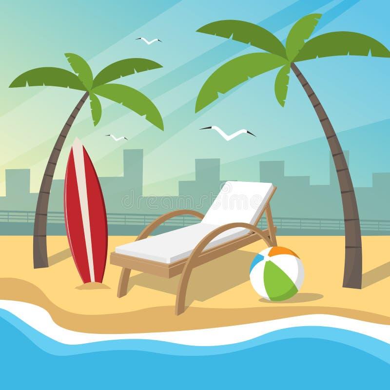 海滩以堤防和城市为背景的假日项目 库存例证