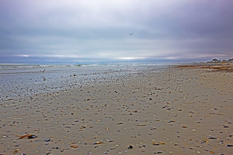 海滩以黑暗,盖天空的乱层云云彩 库存照片