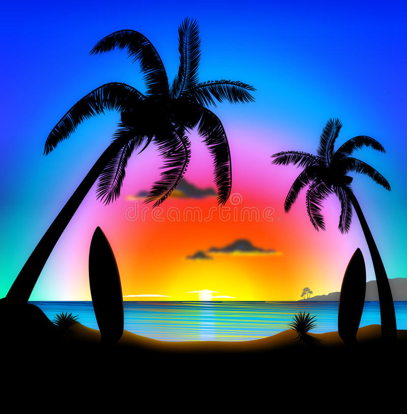海滩例证日落冲浪热带 皇族释放例证