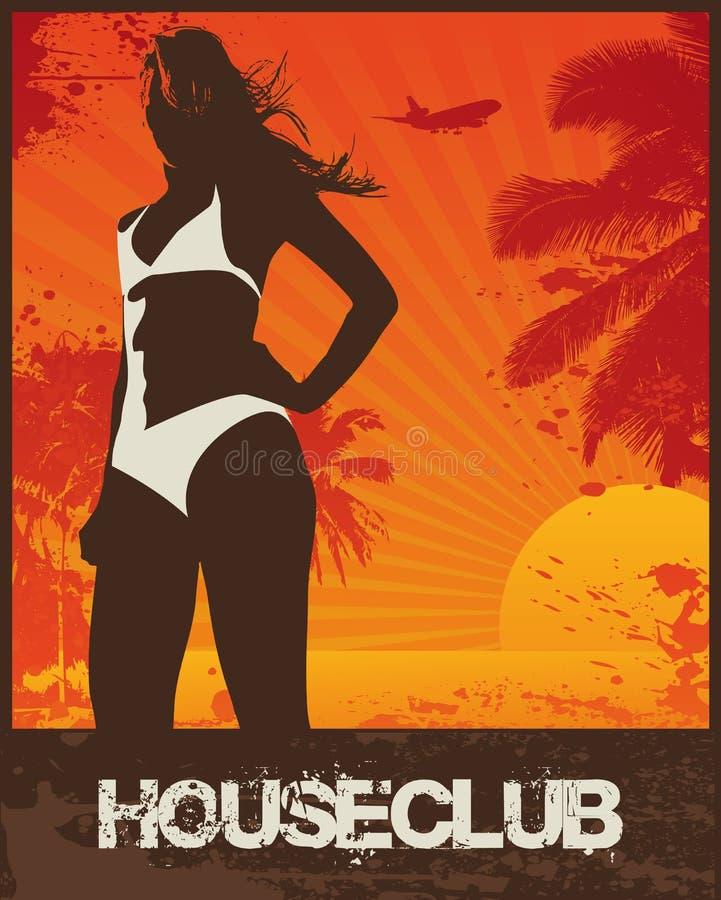 海滩俱乐部女孩房子 向量例证