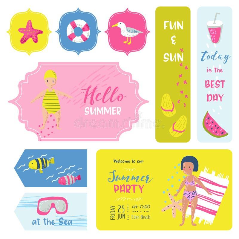 海滩假期幼稚标记,织品徽章,贴纸,标签 你好与孩子和海的夏天元素 库存例证
