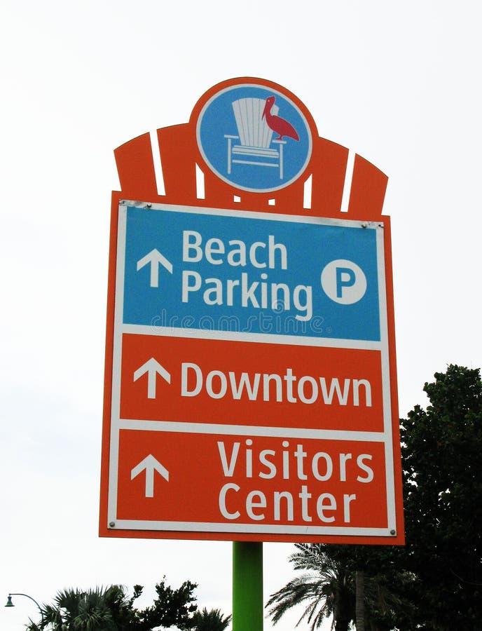 海滩停车处标志 免版税图库摄影