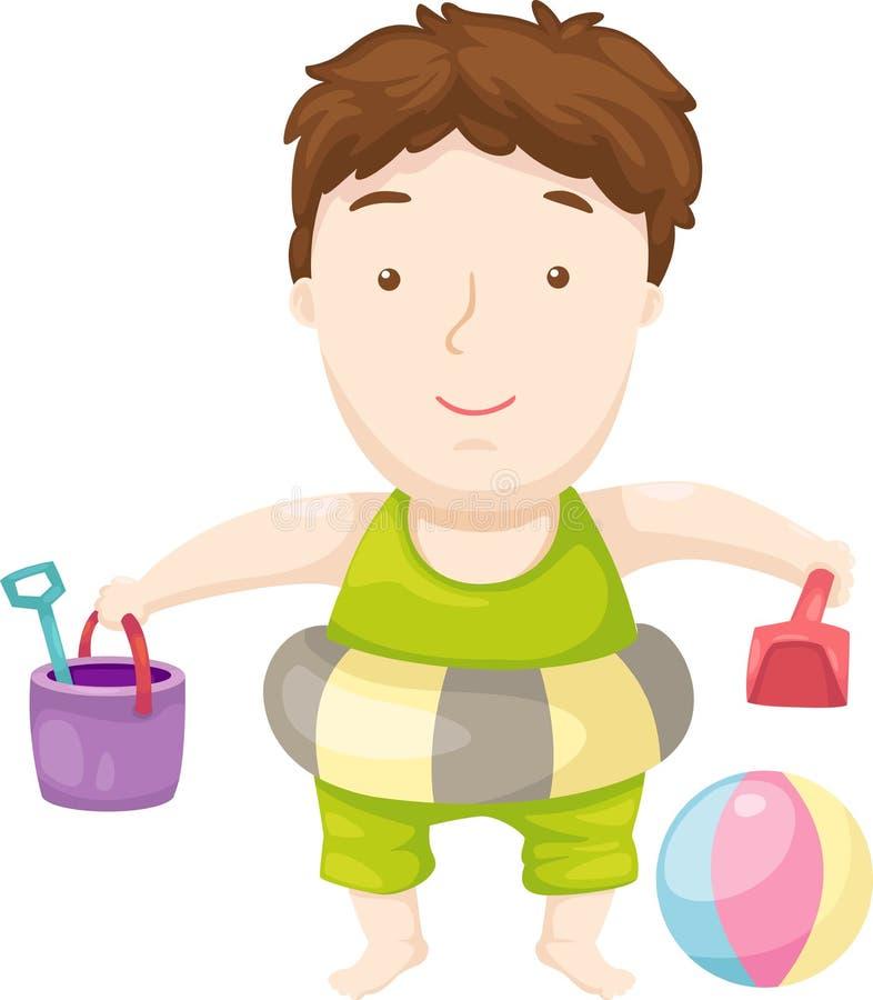海滩儿童向量 向量例证