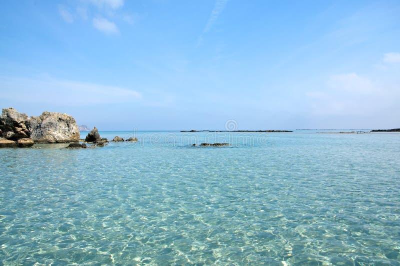 海滩克利特elafonisi 免版税图库摄影