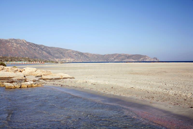 海滩克利特elafonissos 免版税库存照片