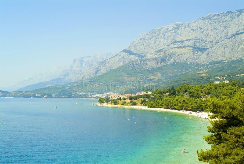 海滩克罗地亚makarska典型的里维埃拉 库存照片