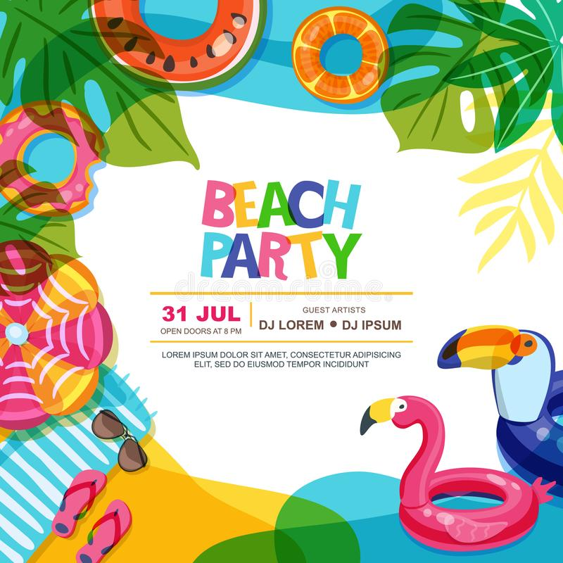 海滩党传染媒介夏天海报设计模板 与浮游物圆环乱画例证的游泳池 向量例证