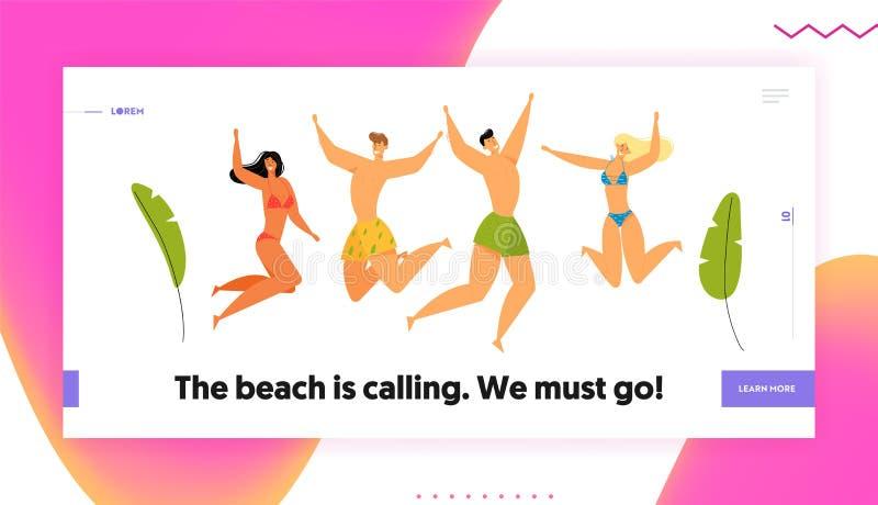 海滩党庆祝 小组愉快的年轻人在跳跃用手的游泳穿戴的字符,夏天 向量例证