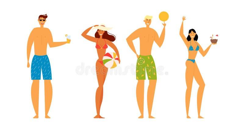 海滩党庆祝 小组游泳穿戴的愉快的年轻人在度假暑假,乐趣字符高兴 库存例证