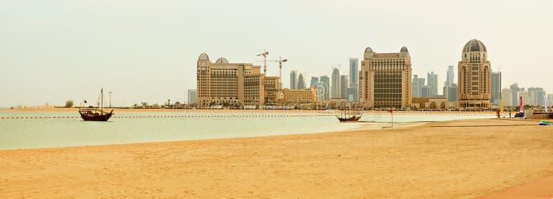 海滩全景卡塔尔 免版税图库摄影
