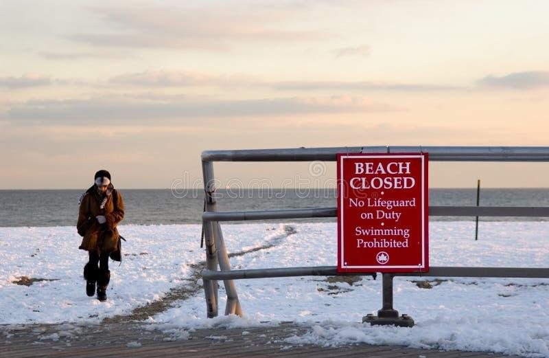 海滩冬天 免版税库存图片