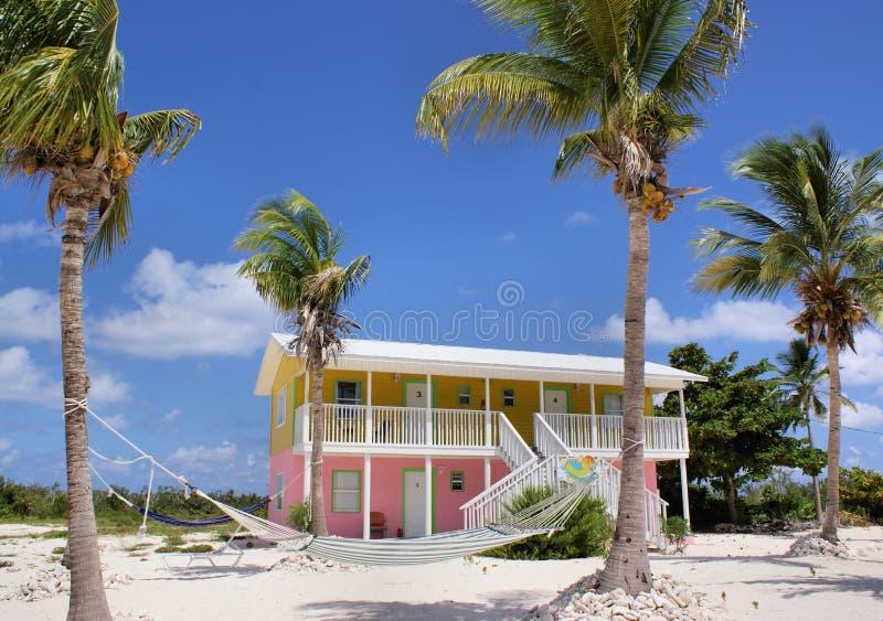 海滩加勒比五颜六色的房子 库存图片