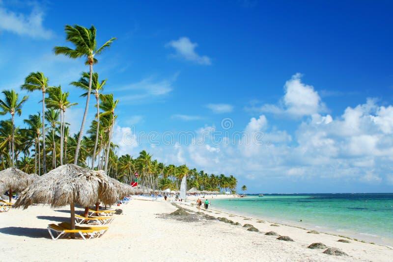 海滩加勒比椅子手段伞 免版税库存照片