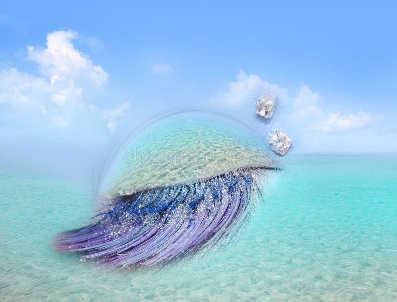 海滩加勒比眼睛构成隐喻海运绿松石 免版税库存图片