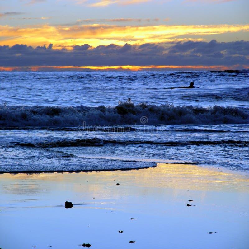 海滩加州日落 库存照片