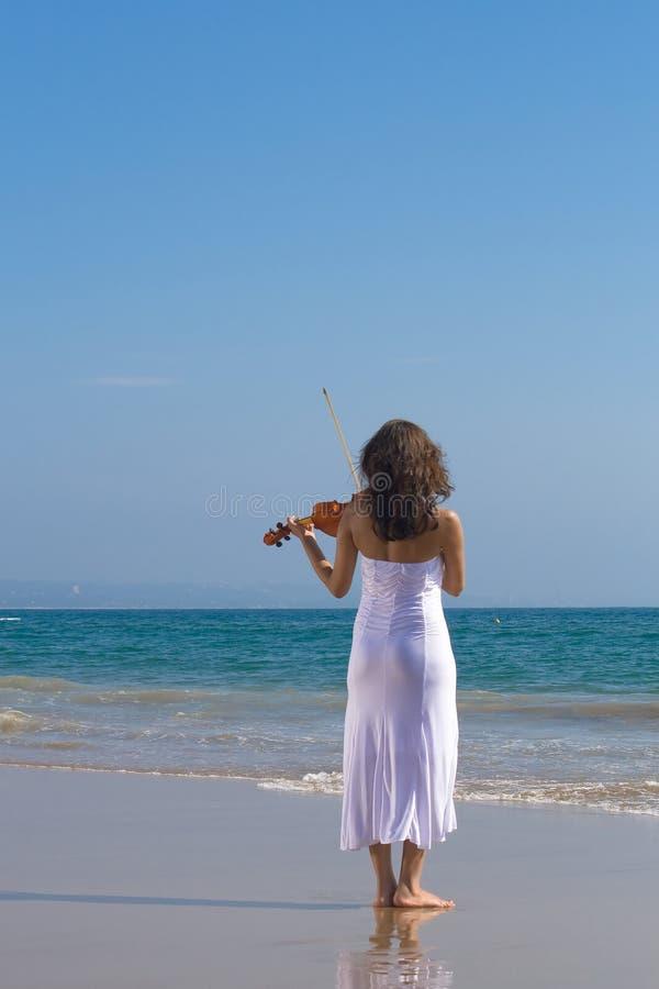 海滩印第安球员小提琴年轻人 库存图片