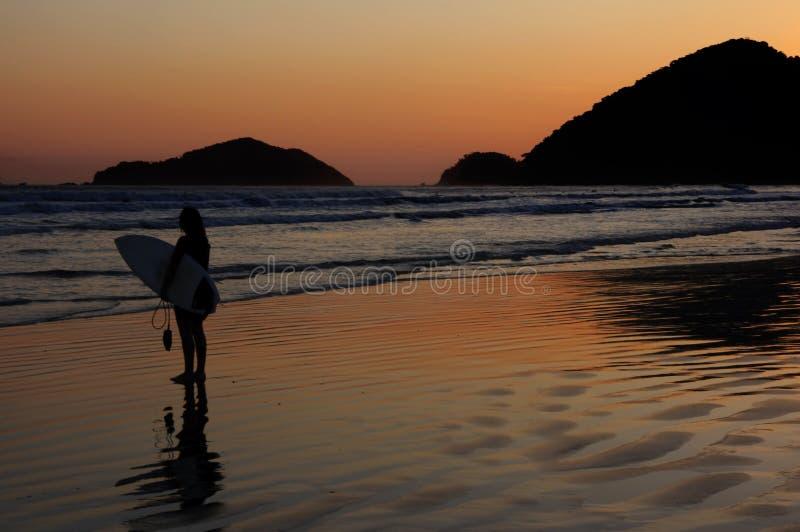 海滩反映热带日落的冲浪者 库存图片