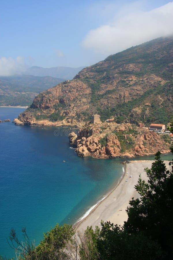海滩可西嘉岛法国波尔图 库存照片