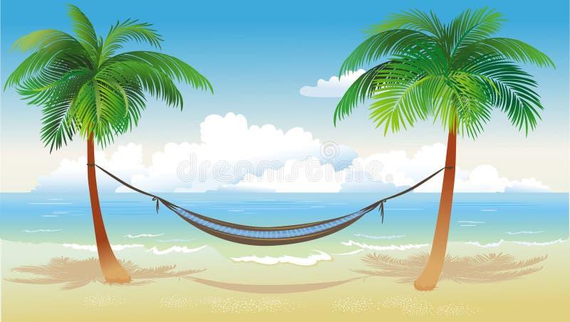 海滩吊床棕榈树 库存例证
