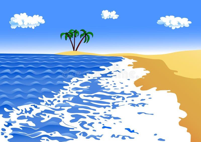 海滩含沙海运海浪 皇族释放例证