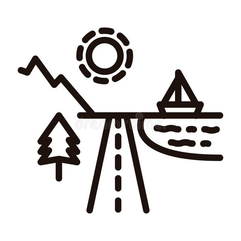海滩和山假日目的地乘有太阳走路的一条路,树、海洋和小船划分了 适应图标 向量例证